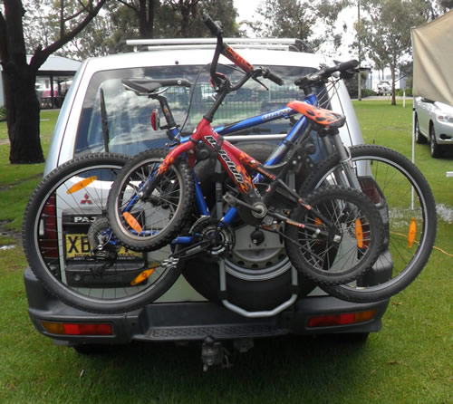 Bikes being carried on a Thule Spare-me 963XTR
