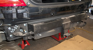 Towbar being fitted to W204 C-Class Mercedes