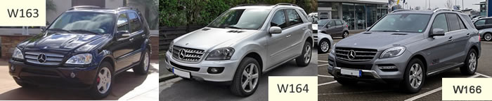 mercedes ML vehicle image W163, W164, W166